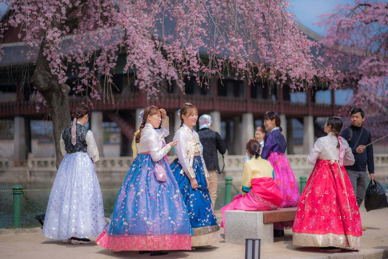 Hanbok Korea South Korea Traditional Clothes Colorful Beautiful Historic Active