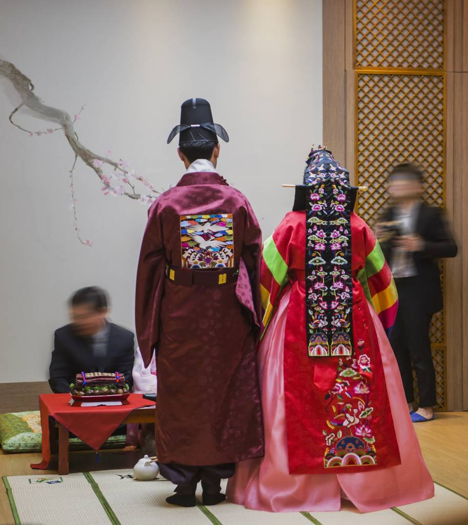 Hanbok Korea South Korea Traditional Clothes Colorful Beautiful Historic Active Traditional Wedding Ceremony