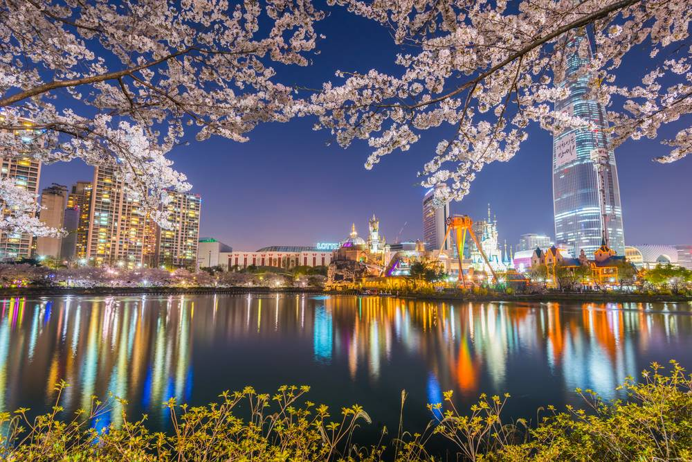South Korea Travel Jamsil Lotteworldtower Seokchonlake Cherryblossom Stroll Shopping Lake Nature Metropolis Scenic